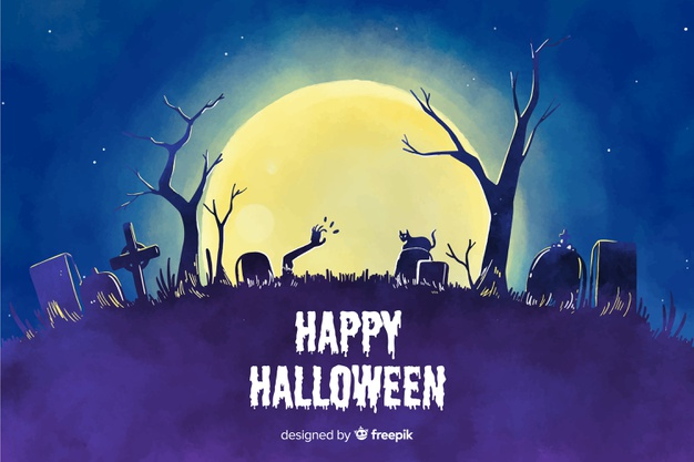 Watercolor style background halloween