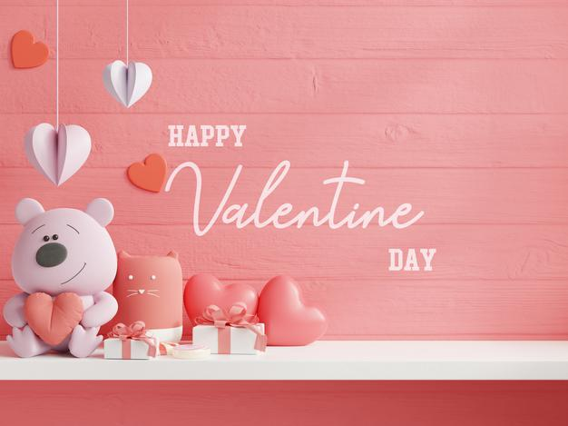 mock up wall valentine day